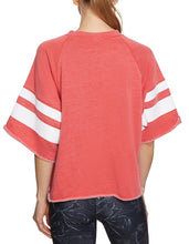 PRINTED STRIPE CUTOFF SWEATSHIRT CORAL - APPAREL - Betsey Johnson