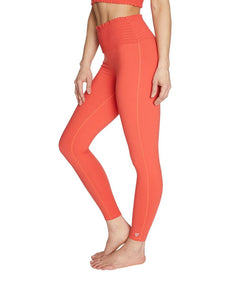 SMOCKED WAIST HIGH RISE LEGGING CORAL