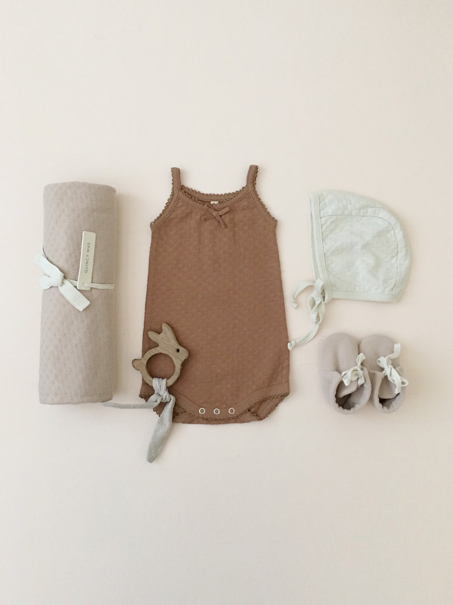 Pointelle Tank Onesie | Copper