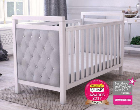 Babymore Velvet Deluxe Cot Bed - White - The Stork Has Landed