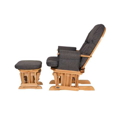 Image of Daisy Deluxe Reclining Glider Chair & Stool - Oak/Charcoal - The Stork Has Landed
