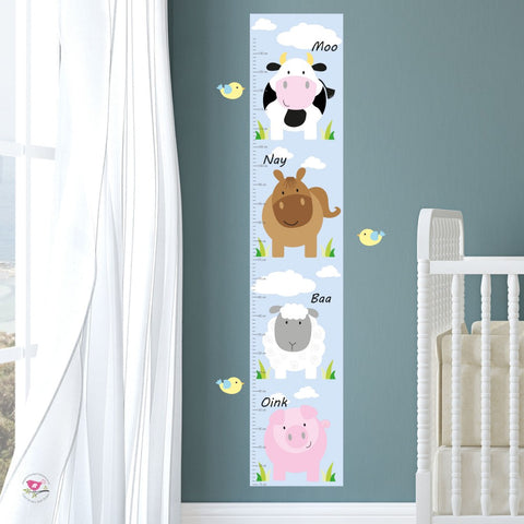 Farm Animal Kids Growth Chart - Neutral - The Stork Has Landed