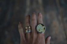 Load image into Gallery viewer, Solar System Ring. 9. Circular cut of Turquoise + Reclaimed sterling silver.  Gold filled Phases of the moon adorn the bezel.