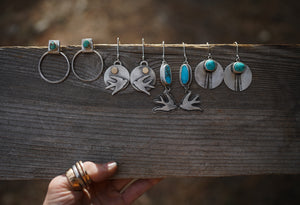 Sparrows Under the Sun Earrings. Reclaimed brass + Sterling silver.