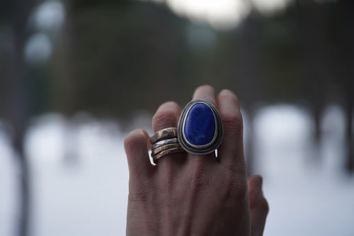 Antiquities Ring.  Lapis Lazuli+ 2 layers of thick gauge Reclaimed sterling silver.
