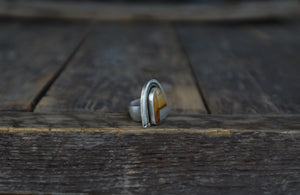 The Great Arches Ring.  Desert Jasper + reclaimed sterling silver + gold fill + 14kt gold