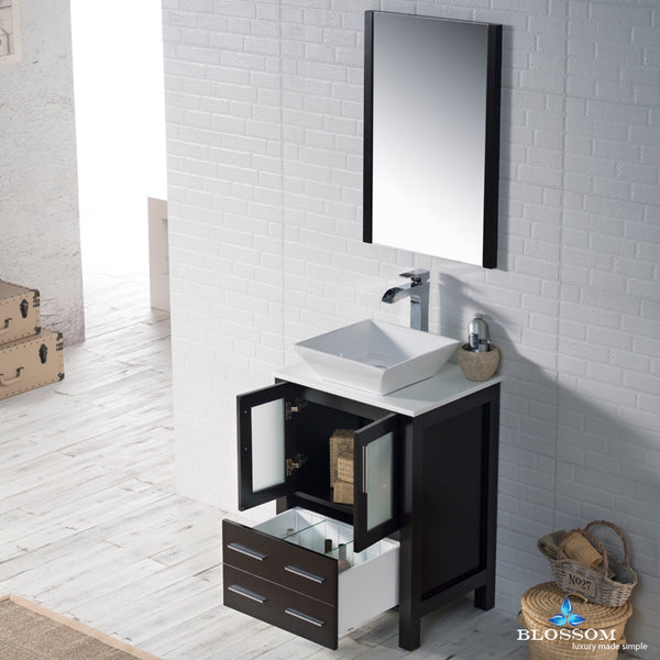 "Sydney 24"" Vanity Set with Vessel Sink and Mirror"