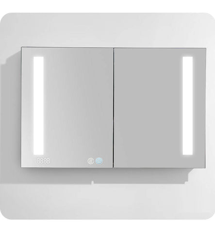 AQUADOM Mirror Glass Cabinet For Bathroom SR4830- With Dimable LED Light- Integrated Clock & USB Ports With Outlets-Recessed & Surface Mount-Defog Mechanism (48in x 30in x 5in)