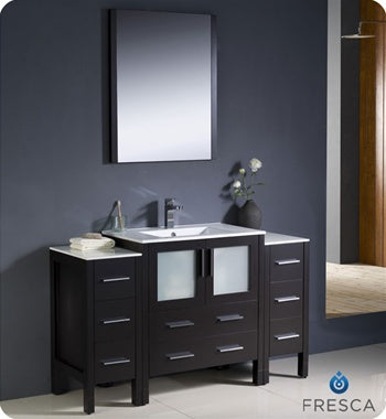 "Fresca Torino 54"" Espresso Modern Bathroom Vanity w/ 2 Side Cabinets & Integrated Sink"