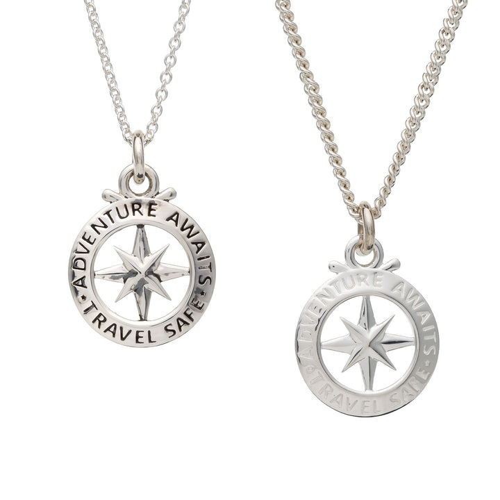 Small mans compass unique saint christopher necklace travel gift off the map
