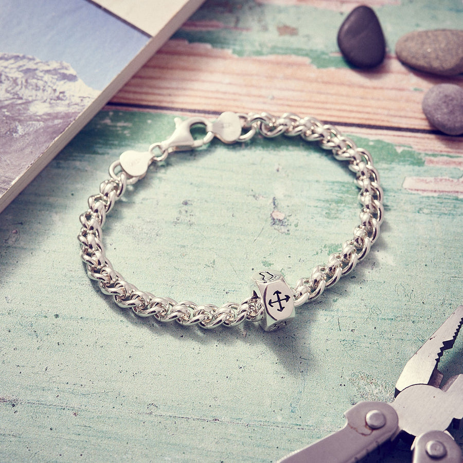 Traveller Keepsafe Chunky mens bracelet, solid silver chain with travel charm handmade UK