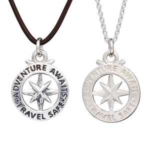 Mens large silver saint christopher travel safe gift compass necklace off the map jewellery