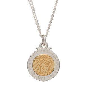Off The Map St Christopher Silver & Solid Gold Necklace - engraved travel safe Saint Christopher