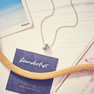 Wanderlust silver necklace for men & women - unusual travel gift alternative to a silver saint Christopher
