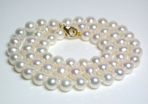 6.5-7mm white pearl & 9 carat gold necklace
