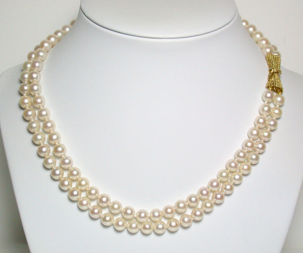 Vintage AAA 6-6.5mm Akoya saltwater pearl & 14ct gold double strand necklace