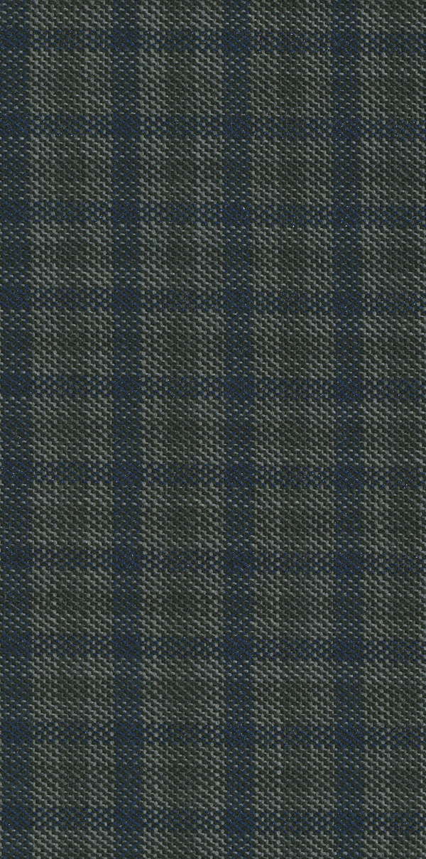 GREY AND INDIGO GINGHAM CHECK SUPER 110'S WOOL SLIM FIT HEARTS TROUSER