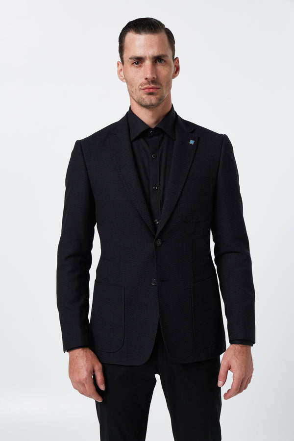 BLACK WOOL COTTON SLIM FIT RONAN BLAZER