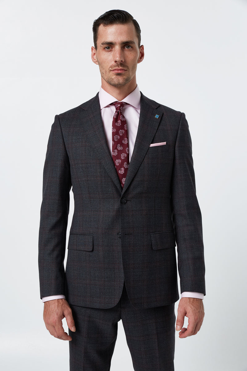 CHARCOAL AND RED PRINCE OF WALES WOOL MELANGE CHECK SLIM FIT DIMITRY JACKET