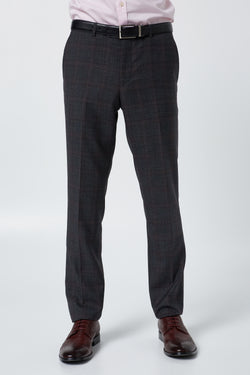 CHARCOAL AND RED PRINCE OF WALES WOOL MELANGE CHECK SLIM FIT HEARTS TROUSER