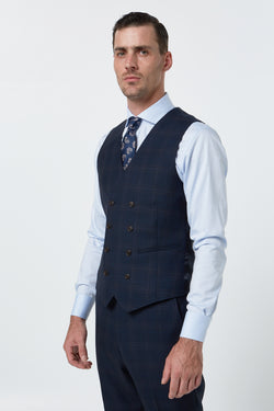 NAVY PRINCE OF WALES CHECK MELANGE SLIM FIT DVOYNOY VEST