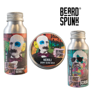 Beard Spunk ® NEROLI Beard Balm 30ml, NEROLI Beard & Moustache Oil 50ml & Beard Shampoo 50ml. Beard Spunk Beard Oil & Moustache Grooming Kits