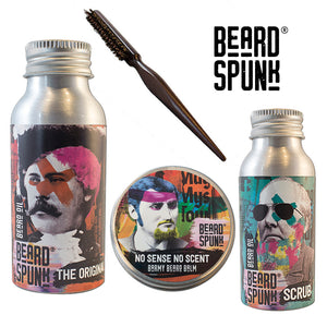 Beard Spunk ® NO SCENT Beard Balm 30ml, ORANGE BERGAMOT Beard & Moustache Oil 50ml, Beard Shampoo 50ml & Beard Brush. Beard Spunk Beard Oil & Moustache Grooming Kits