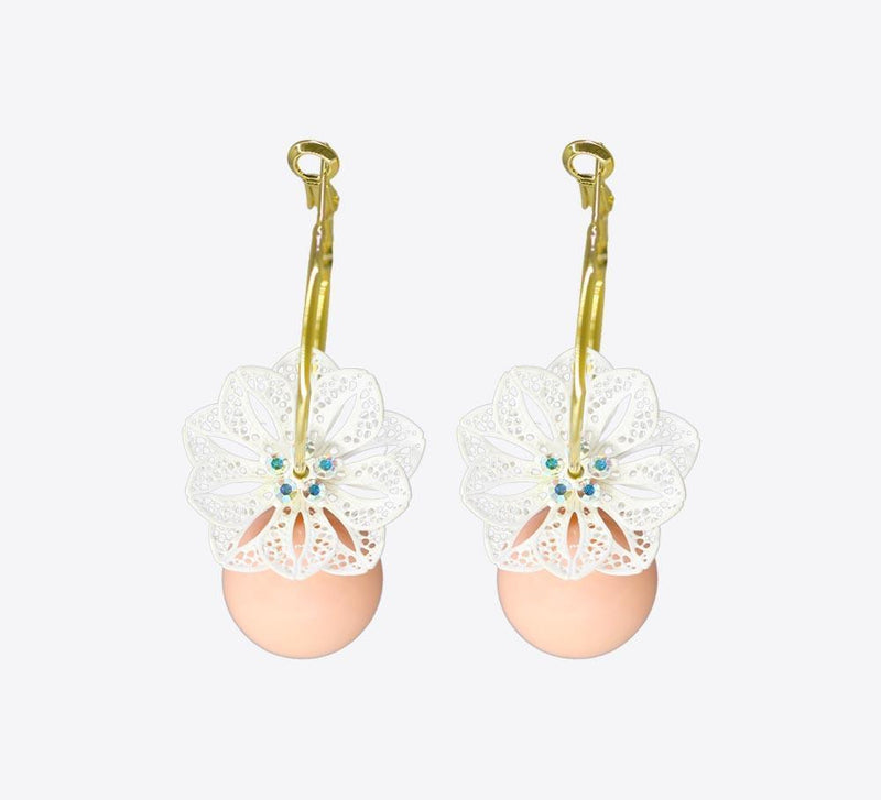 Salmon Golden Drop Earring - ME-2224 - Mahroze