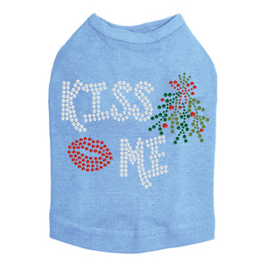Kiss Me under the Mistletoe Dog Tank-Blue