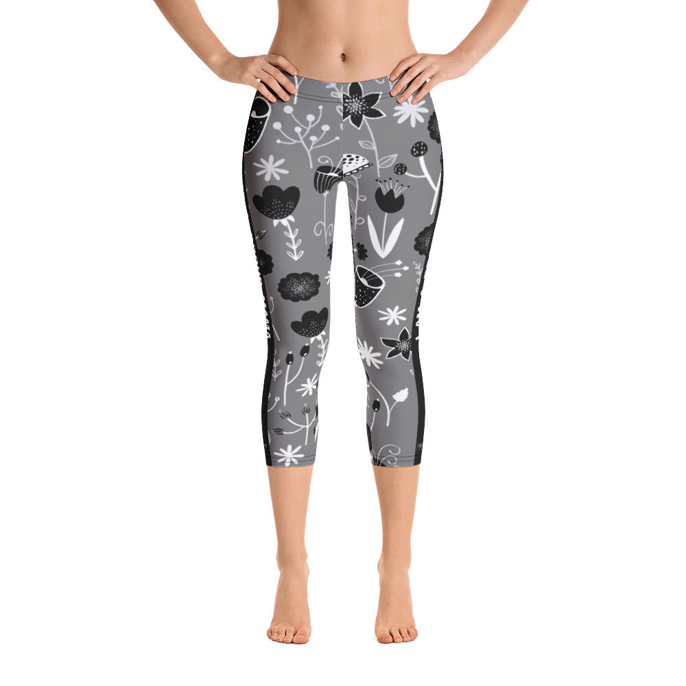 I am a Proud Mama - Flower Pattern Capri Leggings - Maker & Mine