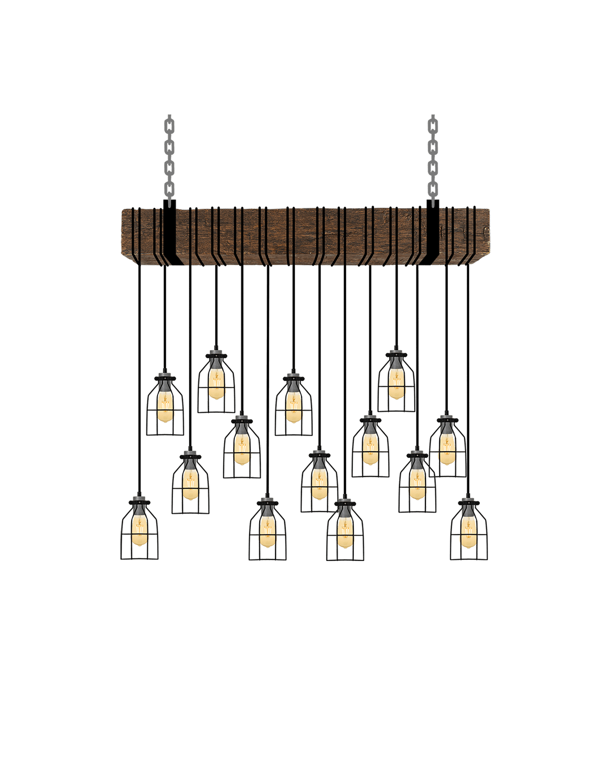 Faux Beam 14 Pendant Wrap: Steel with Black Cages Hangout Lighting 4' Beam