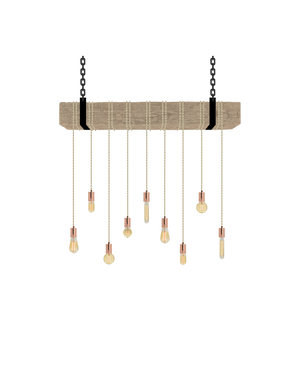 Faux Beam 9 Pendant Wrap: Beige and Copper Hangout Lighting 4' Beam