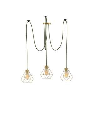 Swag Chandelier: Olive with Brass Diamond Cages Hangout Lighting 3 Swag