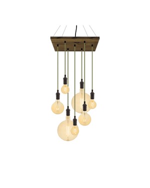 "18"" Square Wood Chandelier: Green Tweed with Amber Globes"
