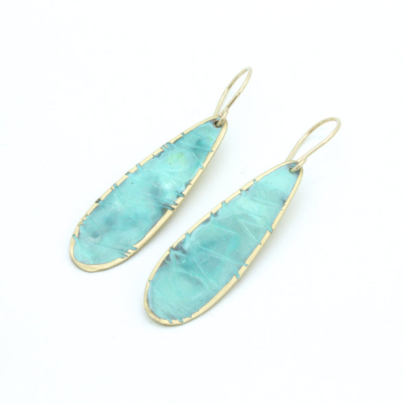Turquoise Patina Petal Earrings