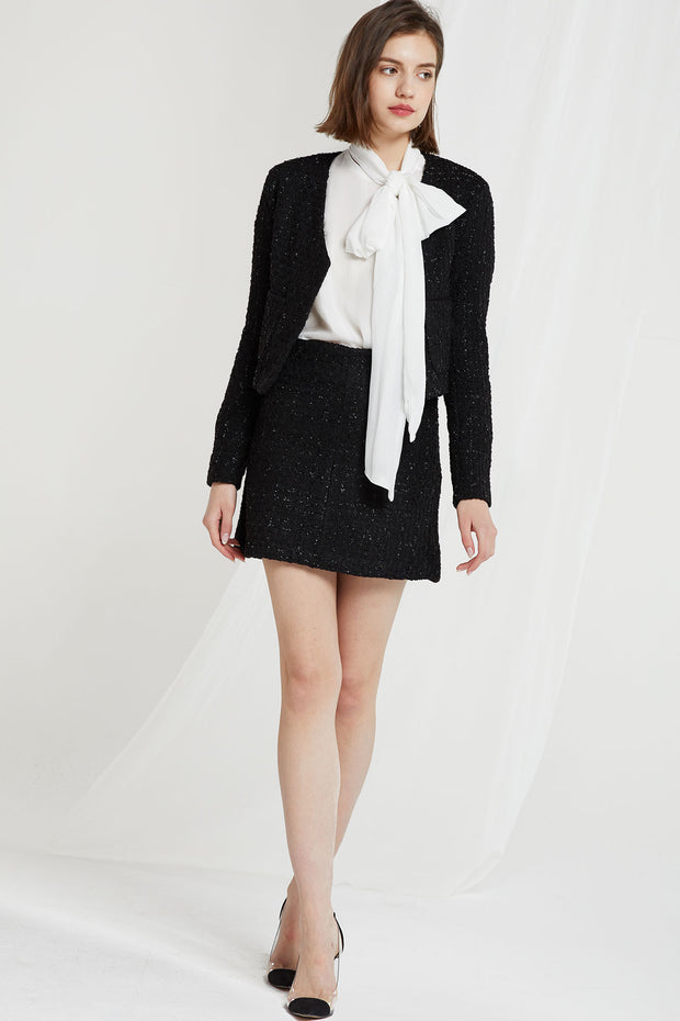 Lennon Collarless Tweed Crop Jacket-2 Colors
