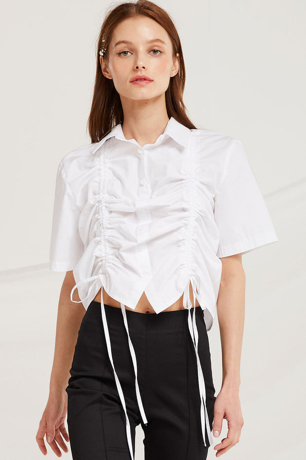 Perla Ruched Blouse w/Drawstring Detail by STORETS