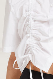 Perla Ruched Blouse w/Drawstring Detail