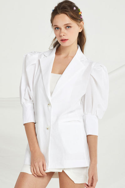 Ariel Puff Sleeve Linen Jacket by STORETS