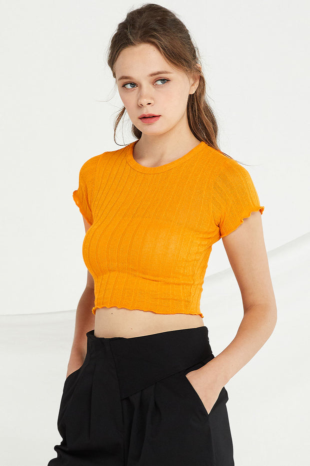 Adriana Ribbed Knit Crop Top by STORETS