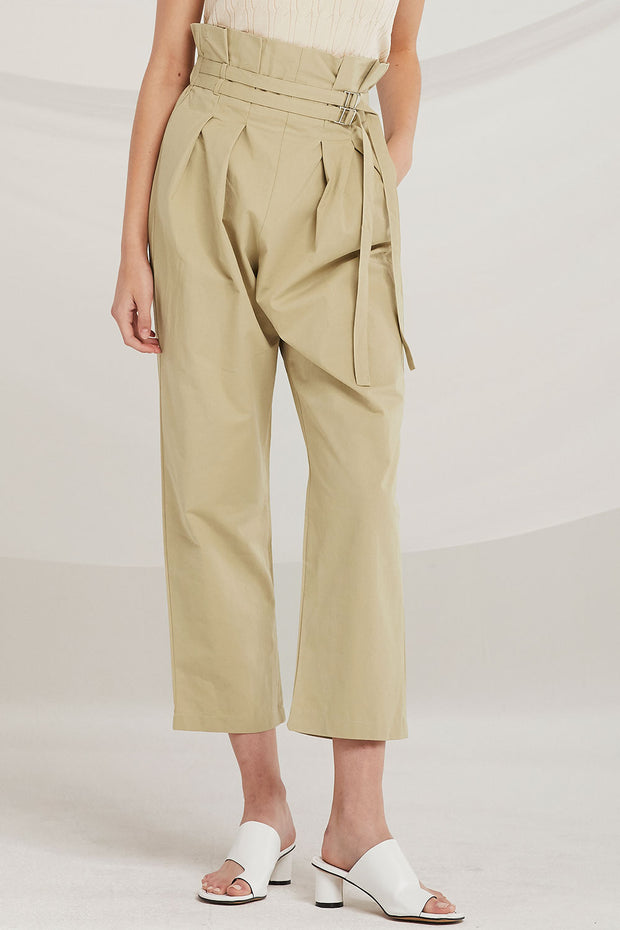 Veda Double Belted Paperbag Waist Pants by STORETS