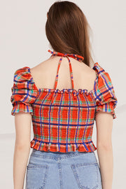 Avah Plaid Smocked Top