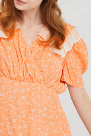Opal Floral Ruffled Collar Dress