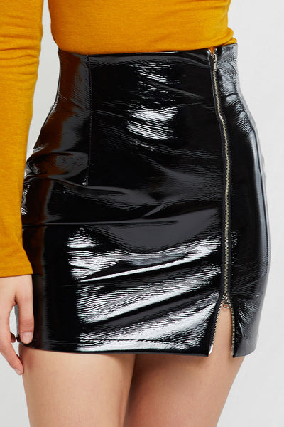 Heather Pleather Mini Skirt