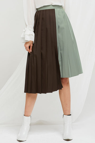 Ira Asymmetrical Pleated Skirt