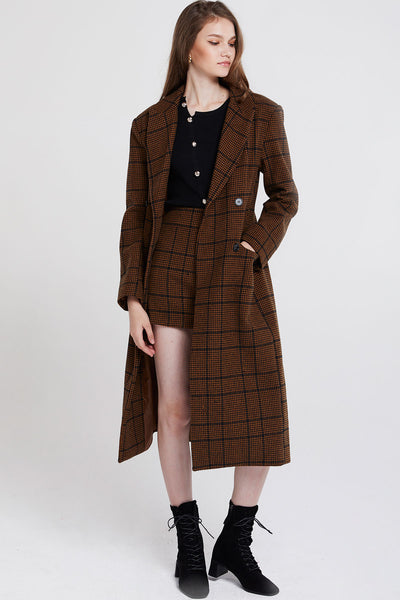 Peggy Double Breasted Plaid Coat-2 Colors
