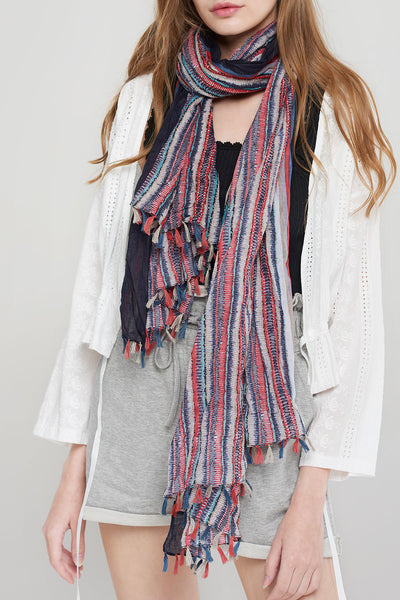 Ethnic Tassel Scarf-Red