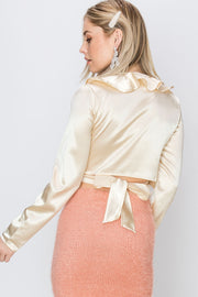 Liza Back Tied Wrap Ruffle Satin Woven Top