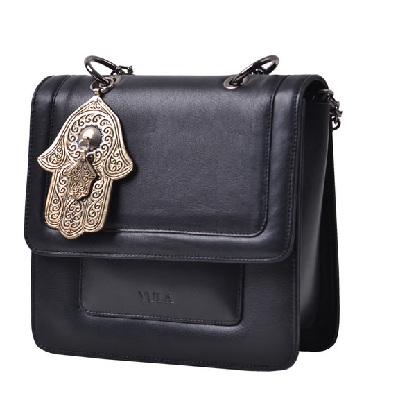 1916 Nelia Medium Shoulder Bag - Black-Medium Khamsa