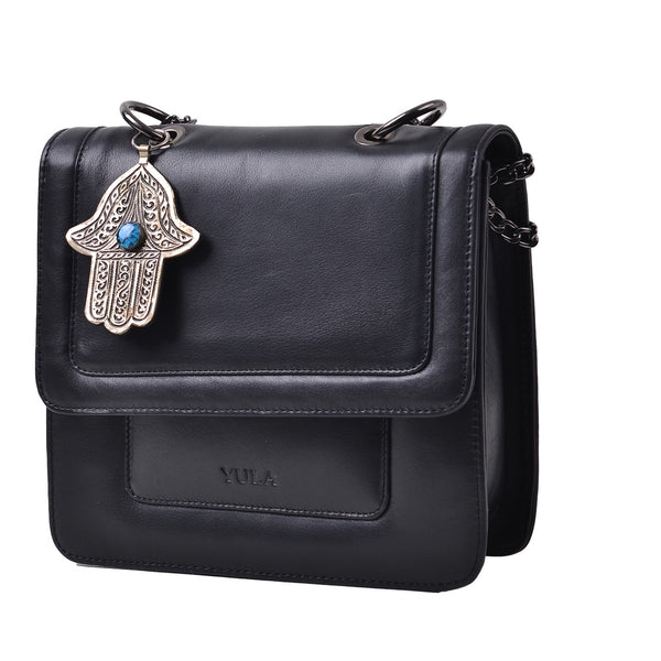 1915 Nelia Medium Shoulder Bag - Black Blue Stone Khamsa